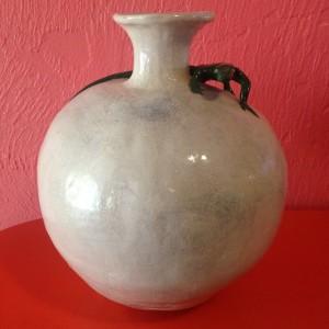 """Lizard Vase"" Earthenware, underglaze, glaze, ink wash 11"" x 9/5"""
